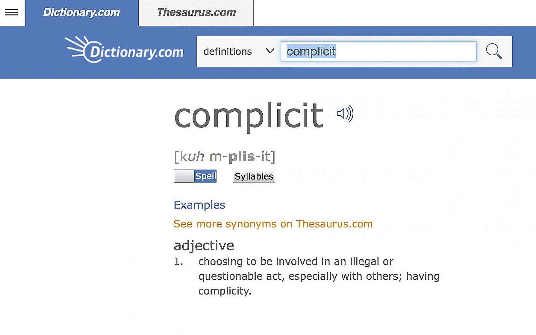 Dictionary com chooses 'complicit' as word of the year | The Times