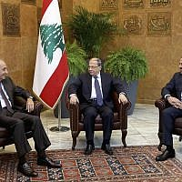 Lebanese President Michel Aoun, center, meets with Prime Minister Saad Hariri, right, and Parliament Speaker Nabih Berri, at the Presidential Palace in Baabda, east of Beirut, Lebanon, November 27, 2017. (Dalati Nohra/Lebanese Government via AP)