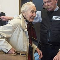 Ursula Haverbeck, accused of hate speech, arrives in the court room of the District Court in Detmold for a appeal hearing, Germany, on November 23, 2017. (Bernd Thissen/dpa via AP, file)