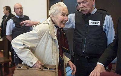 In this file photo from Nov. 23, 2017, Ursula Haverbeck, accused of hate speech, arrives in the court room of the District Court in Detmold for a appeal hearing, Germany. (Bernd Thissen/dpa via AP, file)