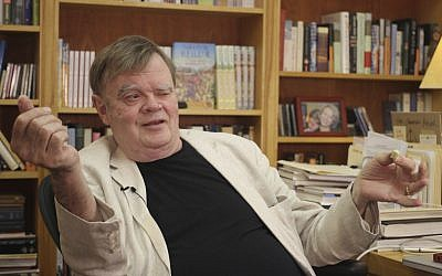 In this July 26, 2017 file photo, Garrison Keillor, creator and former host of, 'A Prairie Home Companion,' talks at his St. Paul, Minn., office (AP Photo/Jeff Baenen, File)