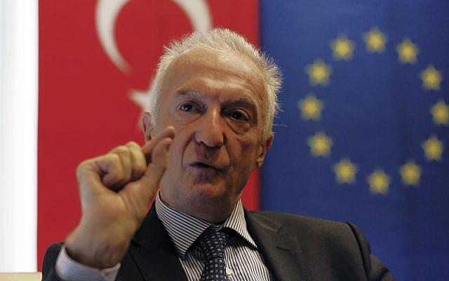 Gilles de Kerchove, the European Union's counter-terrorism coordinator, speaks during an interview with the Associated Press in Ankara, Turkey, November 28, 2017. (AP Photo/Burhan Ozbilici)