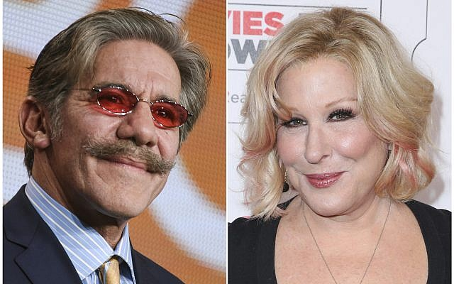 This combination photo shows Geraldo Rivera  left, and Bette Midler. (Photo by Richard Shotwell, left, and Rich Fury/Invision/AP, File)