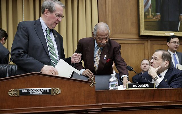 From left, House Judiciary Committee Chairman Bob Goodlatte, R-Va., Rep. John Conyers, D-Mich., ranking member of the House Judiciary Committee, and Rep. Jerrold Nadler, D-N.Y., confer before the start of a markup session on the Protecting Access to Care Act on Capitol Hill in Washington, Tuesday, Feb. 28, 2017. (AP Photo/J. Scott Applewhite)