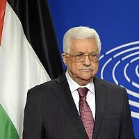 Palestinian Authority President Mahmoud Abbas poses for photographs at the European Parliament in Brussels on June 23, 2016. (Thierry Charlier/AFP/Getty Images via JTA)