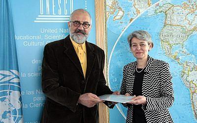 Ahmad Jalali with former UNESCO head Irina Bokova (UNESCO)