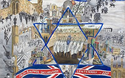 Beverly-Jane Stewart's artwork 'Balfour Accomplished,' depicting imagery from a time of turbulence and change, and telling the story of a unique period of history, will be exhibited for two weeks at the Knesset as part of the events commemorating the historic document (Courtesy Beverly-Jane Stewart)