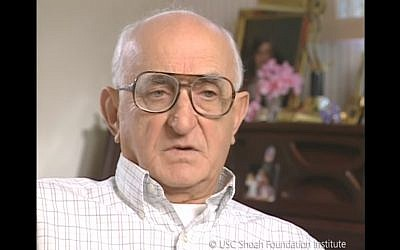 Screen capture from video of Holocaust survivor Benjamin Scheinkopf. (YouTube)