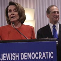 Rep. Nancy Pelosi, Democrat of California, speaks at the  Jewish Democratic Council of America's launch reception in Washington, D.C., on November 8, 2017. (Chris Kleponis)