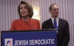 Rep. Nancy Pelosi, Democrat of California, speaks at the  Jewish Democratic Council of America's launch reception in Washington, D.C., on November 8, 2017. (Chris Kleponis)