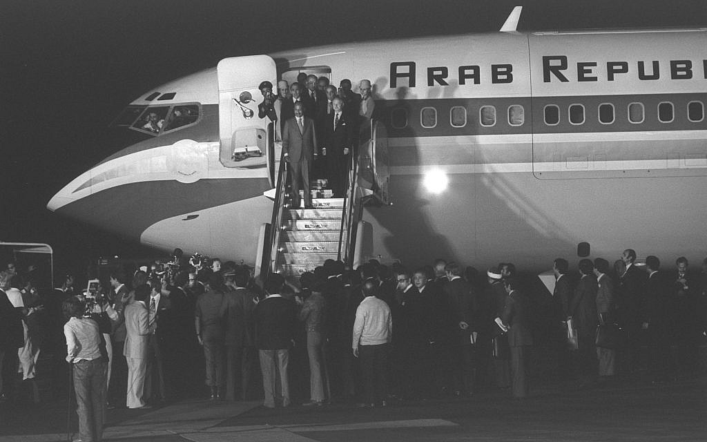 Egyptian President Anwar Sadat lands in Israel on November 19, 1977 (Moshe Milner/GPO archive)