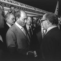Prime Minister Menachem Begin welcomes Egyptian president Anwar Sadat at Ben Gurion Airport on November 19, 1997 (Moshe Milner/GPO archive