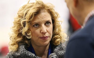 US Representative Debbie Wasserman Schultz (D-FL 23rd District) and chair of the Democratic National Committee (DNC) speaks to a reporter before the democratic debate on December 19, 2015 in Manchester, New Hampshire. (Andrew Burton/Getty Images via JTA)