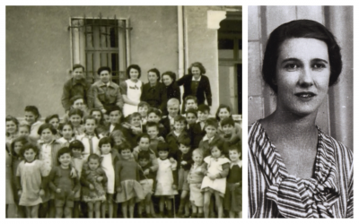 Left: Children and staff of Maison St. Christophe (Saint Christopher's Orphanage) during World War II; Mary Elmes, who secretly brought Jewish children to be saved from Auschwitz. (Courtesy Midas Films)