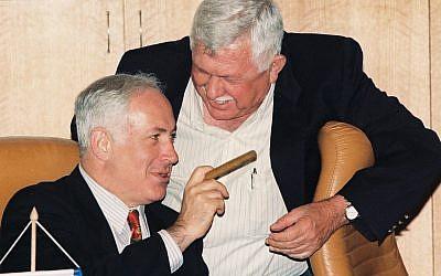 Benjamin Netanyahu is seen with a cigar in Jerusalem on July 2, 1997. (Flash90)