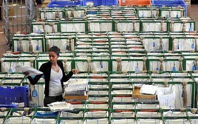 Illustrative photo of a post office sorting center, Tel Aviv February 22, 2010. (Yossi Zeliger/Flash 90)