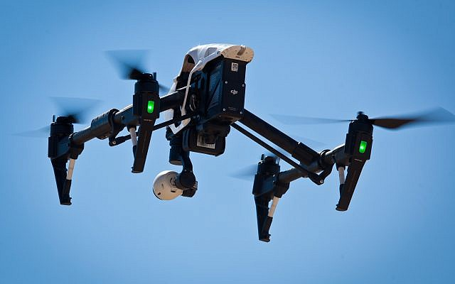 Illustrative: A remote-controlled drone with a camera attached to it, February 18, 2015.(Moshe Shai/FLASH90)