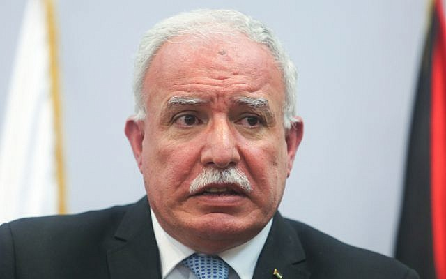 Palestinian foreign minister Riyad al-Malki speaks during a press conference in the West Bank city of Ramallah on August 11, 2015. (Flash90)