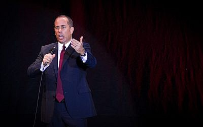 American comedian Jerry Seinfeld performs in Tel Aviv on December 19, 2015. (Miriam Alster/FLASH90)
