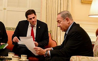 Prime Minister Benjamin Netanyahu (R) with Israels ambassador to the US Ron Dermer at the President's Guest House, in Washington, DC, February 14, 2017. (Avi Ohayon/GPO)