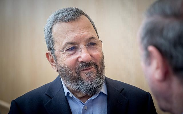 Former prime minister Ehud Barak attends a conference marking the 50th anniversary of the Six-Day War, at the Ben Zvi Institute in Jerusalem on June 5, 2017. (Yonatan Sindel/ Flash90)