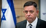 Labor party leader Avi Gabbay leads a faction meeting at the Israeli parliament on October 30, 2017. (Yonatan Sindel/Flash90)