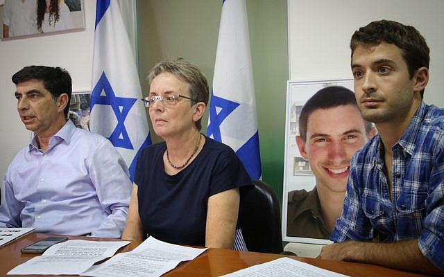 The family of the late IDF soldier Hadar Goldin speaks at a press conference in Tel Aviv on November 5, 2017, announcing their intention to file a petition to the High Court. (Flash90)