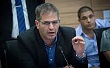 MK Yoav Kisch seen during a meeting of the Finance committee in the Knesset on November 6, 2017. (Miriam Alster/Flash90)
