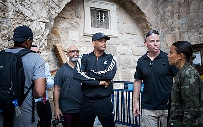 American actor Will Smith is seen outside the  Church of the Holy Sepulchre  in the Old City of Jerusalem on November 9, 2017. Photo by Yonatan Sindel/Flash90.