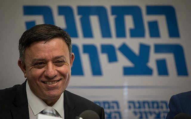Zionist Union leader Avi Gabbay heads a faction meeting at the Knesset, on November 13, 2017. (Hadas Parush/Flash90)