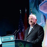 President Reuven Rivlin speaks during a conference of the General Assembly of the Jewish Federations of North America in Los Angeles, on November 14, 2017. (Mark Neyman/GPO)