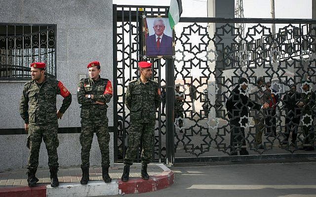 Palestinian security forces stand guard at the Rafah border crossing with Egypt, in the southern Gaza Strip on November 18, 2017. (Abed Rahim Khatib/Flash90)