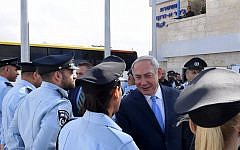 Prime Minister Benjamin Netanyahu at an inauguration ceremony marking the opening of a new police station in the northern Arab Israeli town of Jisr az-Zarqa, November 21, 2017. (Kobi Gideon/GPO)