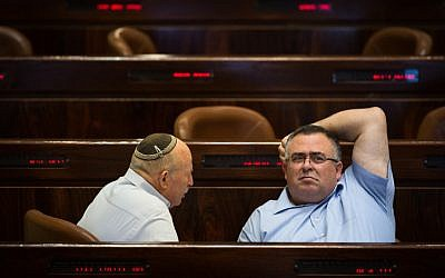 Coalition Chairman David Bitan at a Knesset plenary session, on November 27, 2017. (Hadas Parush/Flash90)