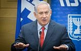 Prime Minister Benjamin Netanyahu during a Likud party faction meeting at the Knesset on November 27, 2017. (Miriam Alster/Flash90)