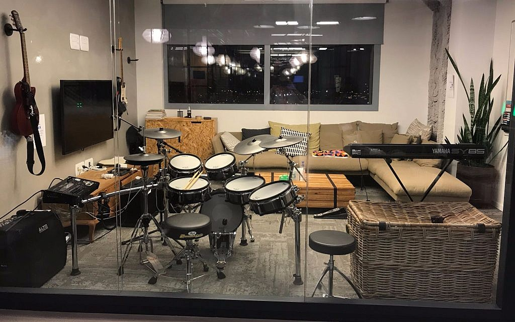 A music room in Facebook Israel's current Tel Aviv office; designed by Setter Architects (Shoshanna Solomon/TimesofIsrael)