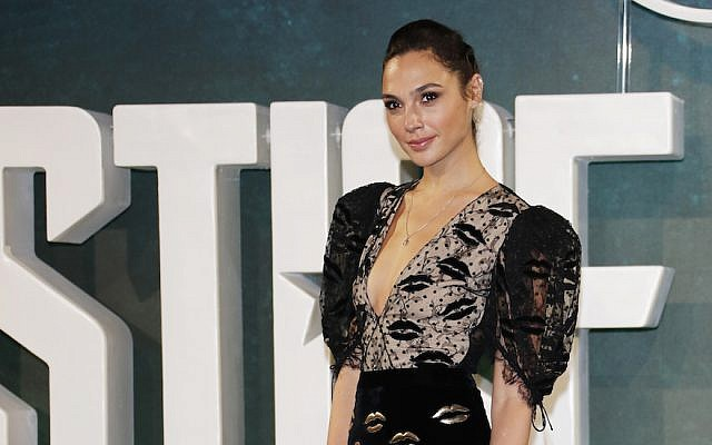 "Gal Gadot attends the ""Justice League"" photocall at The College on November 4, 2017, in London, England.  (David M. Benett/ Dave Benett/WireImage via JTA)"
