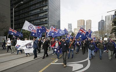 Far-right groups organized a march in Melbourne, June 25, 2017. (Darrian Traynor/ Getty Images via JTA)