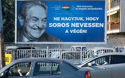 A poster with US billionaire George Soros in Szekesfehervar, Hungary, July 6, 2017. (ATTILA KISBENEDEK/AFP/Getty Images via JTA)