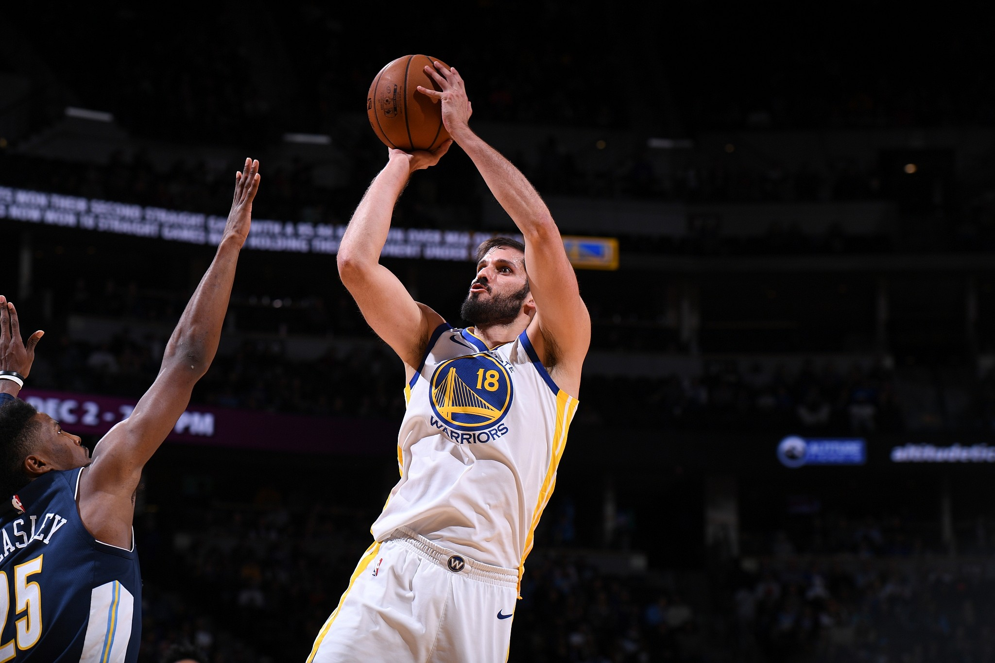 e9163cec9ea Omri Casspi #18 of the Golden State Warriors shoots the ball against the  Denver Nuggets