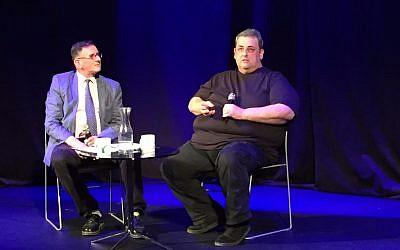 Journalist Matthew Kalman (left) and David Hirsh, author of 'Contemporary Left Anti-Semitism,' at a Times of Israel Presents event at Jerusalem's Beit Avichai on November 8, 2017. (Amanda Borschel-Dan/Times of Israel)