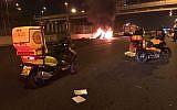 A car in flames after a loud blast in Tel Aviv on November 16, 2017. (MDA)