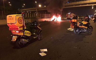 A car in flames after a loud blast in Tel Aviv on November 16, 2017. (MDA)