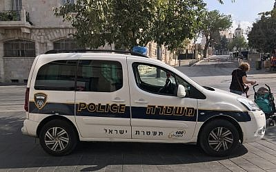 Illustrative photo of a police patrol car in Jerusalem, September 20, 2017. (Times of Israel/Stuart Winer)