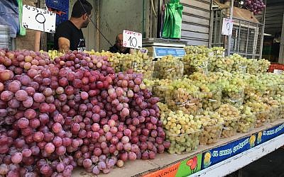 Illustrative: Grapes in the Mahane Yehdua Market, October 13, 2017. (Times of Israel/Stuart Winer)
