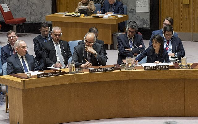 OPCW head Edmond Mulet, left, Syrian UN envoy Ramzy Ezeldine Ramzy, and US envoy Nikki Haley  discuss the United Nations Joint Investigative Mechanism at the UN SEcurity Council on November 7, 2017. (UN/Cia Pak)