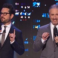 Star Wars filmmaker J.J. Abrams (left) offers to leak the plot of the ninth episode to the highest donor for HBO's autism benefit, 'Night of Too Many Stars,' hosted by Jon Stewart on November 18, 2017. (YouTube screenshot)