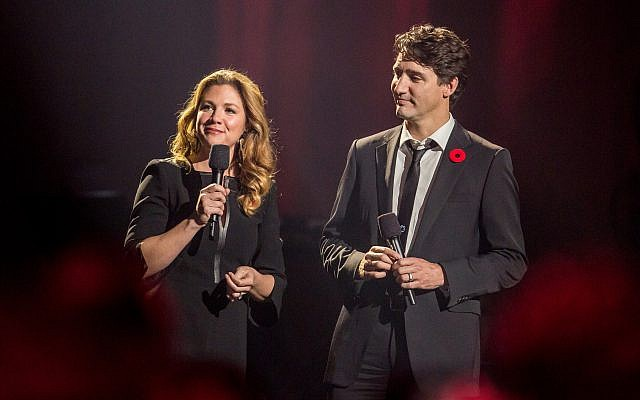 Canadian Prime Minister Justin Trudeau and his wife Sophie onstage at the Leonard Cohen memorial concert in Montreal, November 6, 2017. (Michel Couvrette)