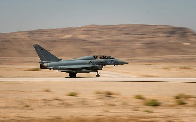 A German Eurofighter jet takes part in the international Blue Flag exercise at the Ovda air base in southern Israel in early November 2017. (Israel Defense Forces)