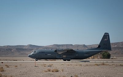 A C130J transport plane takes part in the international Blue Flag exercise in early November 2017. (Israel Defense Forces)